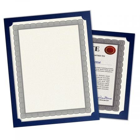 Plain Blue Certificate Holder - Linen Cover Stock - Set of 50, 9-1/2'' x 12'' Folded w/Diecut Corners on 80 lb. by Current