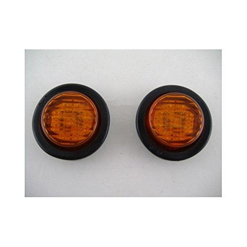 (2) Amber 2' Round 9 LED Mini Custom Flasher Park Turn Signal Lights United Pacific
