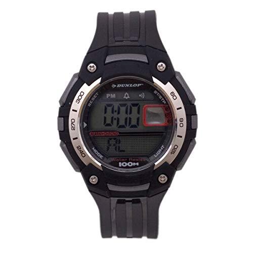 Dunlop Digital Watch Mens DUN136G07 Silver/Black Plastic Quartz Light