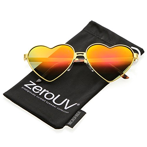 zeroUV - Womens Cute Fashion Wire Metal Inset Lens Love Lolita Heart Shaped Valentine's Day Sunglasses (Gold / Red - Heart Lolita Glasses Shaped