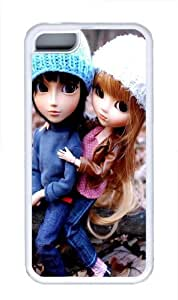 Couple Doll TPU Silicone Case Cover for iPhone 5C White