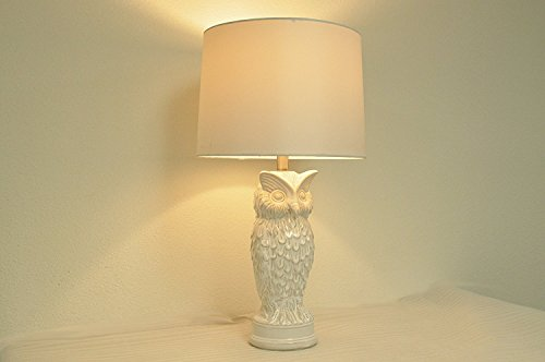 27 h white owl ceramic glaze table lamp with vintage - What size table lamp for living room ...