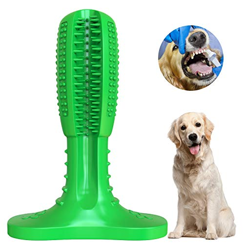 Wisedom Dog Toothbrush Stick-Puppy Dental Care Brushing Stick Effective Doggy Teeth Cleaning Massager Nontoxic Natural Rubber Bite Resistant Chew Toys for Dogs Pets (Small Dog)