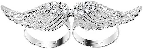 Clear Angel Wing Double Finger Ring