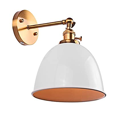Swing Arm Wall Lamp Sunsbell E27 Retro Wall Mount Sconce Light Fixtures with Switch - Rotatable Bell-Shaped - White