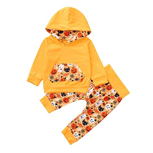 SUJING 2Pcs Baby Boy Girls Hooded Pocket T-Shirt Top+Long Printed Cartoon Pant Cute Halloween Outfit (Orange, 24M)