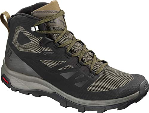 Salomon Men's Outline Mid GTX Hiking Shoe, Black/Beluga/Capers