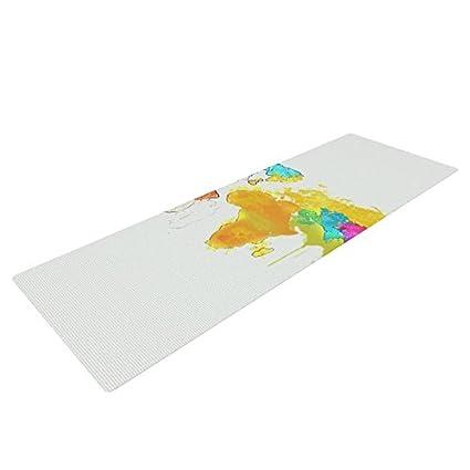 Amazon.com : Kess InHouse Oriana Cordero World Map Yoga ...