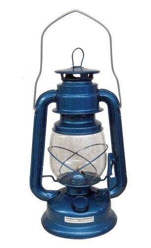 VandO 200-30060 Camper Brass Trim Oil Lantern, Blue, Outdoor Stuffs