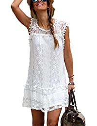 Women's O Neck Sleveeless Hollow Out Lace Casual Lined...