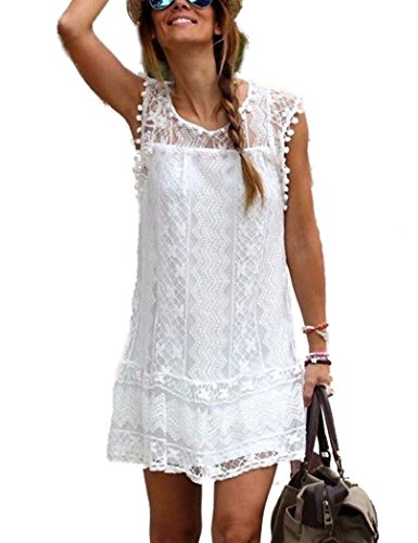 YIHUAN Women's O Neck Sleveeless Hollow Out Lace Casual Lined Short Dress