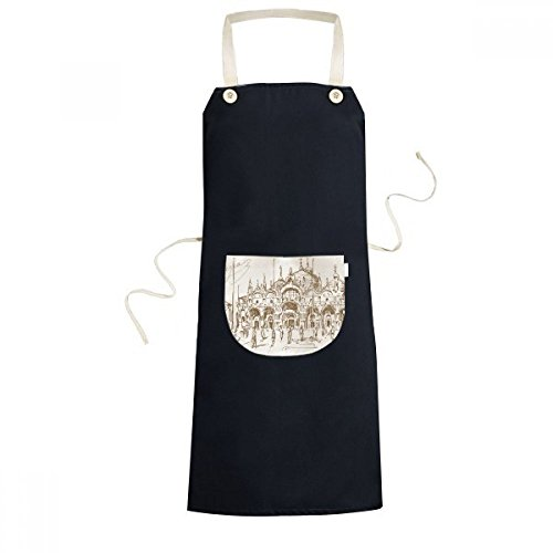DIYthinker The Venetian Church Venetian Landmark Pattern Cooking Kitchen Black Bib Aprons With Pocket for Women Men Chef Gifts by DIYthinker