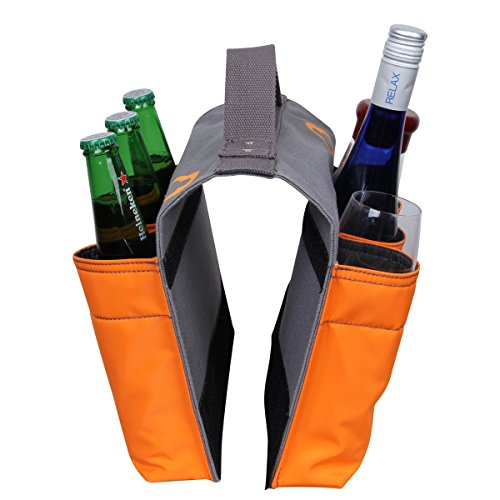 Bike Beer Bottle Holder Bag,LANMU Saddlebag Organizer 6 Bottles Holders with Handle,Six Slot Saddle Bag for Bike,Grocery,Camping,Beach,Picnic