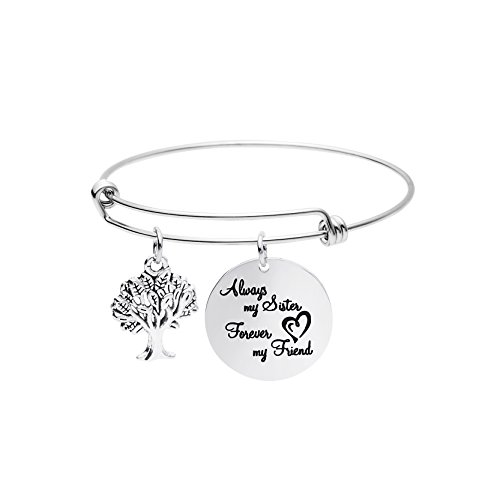 Yiyangjewelry Women Jewelry Friendship Gifts Expandable Charm Bracelet Bangle Stainless Steel Always My Sister Forever My Friend