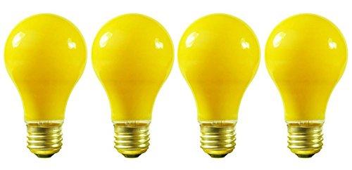 (Pack of 4) 60 Watt A19 Yellow Bug Light 130V E26 Base- 60A/YB - 60A19/Y