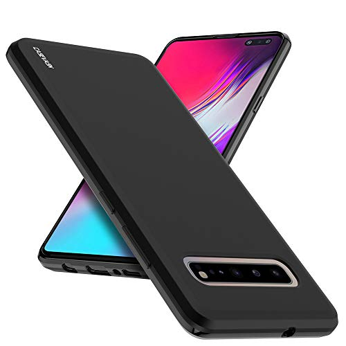 S10 5G Case, Galaxy S10 5G Case, CASEVASN [Slim Thin] Anti-Scratches Flexible TPU Gel Rubber Soft Skin Silicone Protective Case Cover for Samsung Galaxy S10 5G (Black)