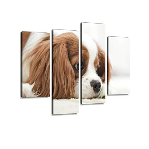 Cavalier King Charles Spaniel Canvas Wall Art Hanging Paintings Modern Artwork Abstract Picture Prints Home Decoration Gift Unique Designed Framed 4 Panel - Cavalier King Charles Spaniels Framed