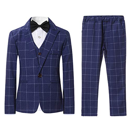 SWOTGdoby Boys Plaid Suits 3 Pieces Suit Set Blazer Vest Pants Formal 7 Colors for Wedding Party Blue, 8