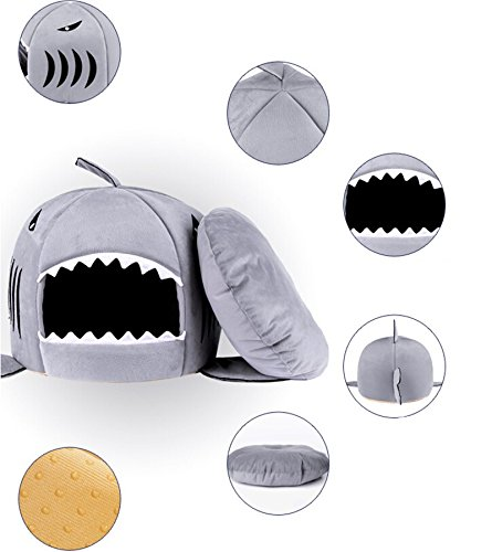 Pet Products Warm Soft Dog House Pet Sleeping Bag Shark Dog Kennel Cat Bed Cat House (M, Gray)