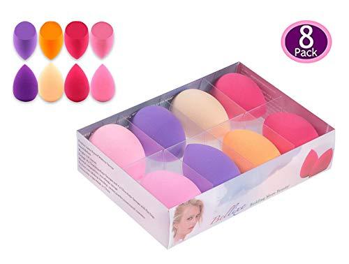 [8-Pack] Bellixe Beauty Makeup Sponge Blender Set, Latex-Free Vegan Dual for Liquid Foundation/Powder/Cream, Soft Multi-Purpose Cosmetic Applicator Puff for Effortless Blending Contouring