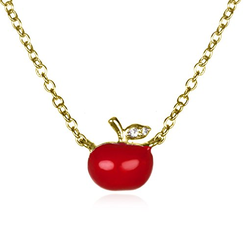 Gold Plate Silver White CZ with Red Enamel Apple Necklace in 18