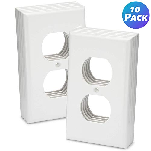 Duplex Outlet Covers 10 Pack 1-Gang Duplex Outlet Wall Plate Outlet Cover Duplex Outlet Cover 1 Outlet Cover 1-Gang Wallplate 1 Gang Wall Plate Electrical Outlet Covers Power Outlet Cover - White
