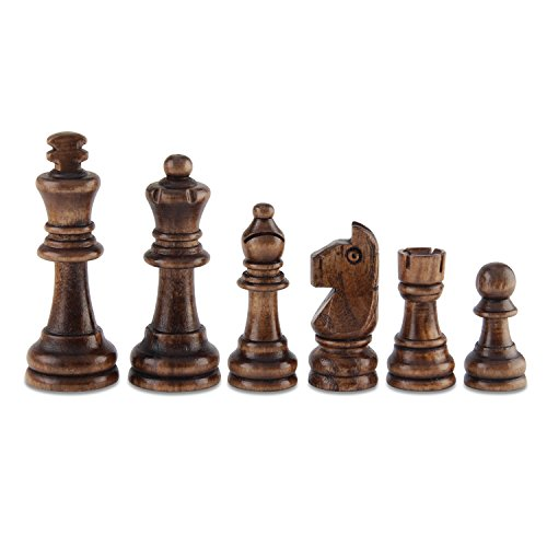 """Amerous Chess Pawns Wooden Chessmen with 3.03"""" King Nature Wood Chess Pieces Hand Carved Figure Figurine, French Staunton Style free shipping"""