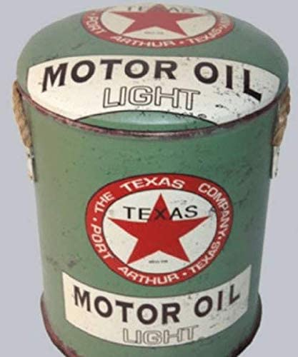 Metal Stool or Storage Bin 36cm Texas Motor Oil Vintage Retro Advertising Petrol Fuel Mancave Man Cave Shed Garage Workshop Pub Kitchen Bar Gift