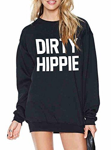 Women's Long Sleeve Dirty Hippie Letters Print Casual Sweatshirt size Small (Black)