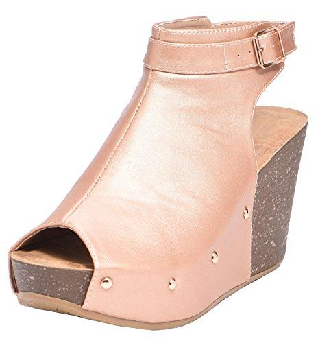 Wedge Buckle Toe Peep - Cambridge Select Women's Peep Toe Buckle Ankle Strap Studded Platform Wedge Sandal (7.5 B(M) US, Rose Gold)
