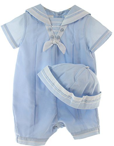 Boys Sailor Romper Outfit with Hat Set Sarah Louise Baby Clothes 6M - Sarah Louise Hat