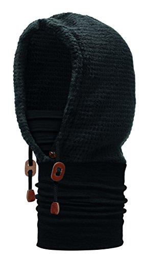 BUFF HOODIE Thermal, Èchapre en Laine avec Capot en Molleton (Polyester), noir, one size