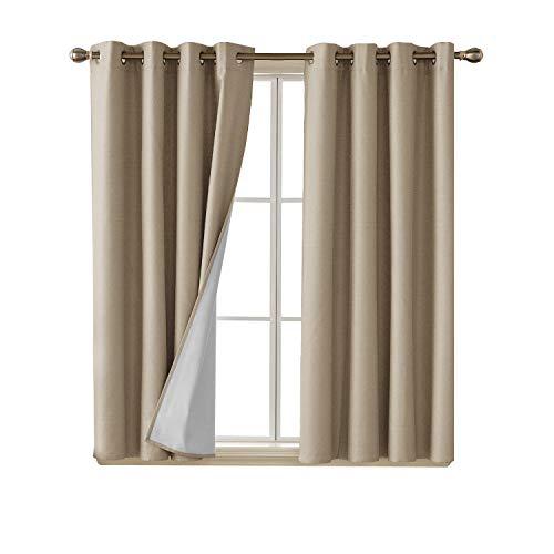 Deconovo Faux Linen Blackout Curtains with 3 Pass Coating En