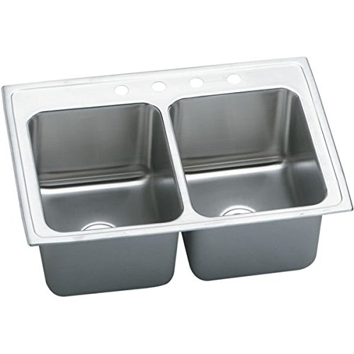 Gourmet Deep Double Bowl - Elkay DLR3722104 4-Hole Gourmet Double Basin Drop-In Stainless Steel Kitchen Sink, 22-Inch x 37-Inch