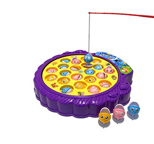 Haktoys Fishing Game Toy Set with Single-Layer Rotating Board | Now with Music On/Off Switch for Quiet Play | Includes 21 Fish and 4 Fishing Poles | Safe and Durable Gift for Toddlers and Kids