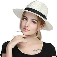 Taylormia Men's Panama Hat Sun Hat Summer UV Protection Foldable Straw Hat UPF
