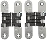 SOSS 212US26D Mortise Mount Invisible Hinge with 4 Holes, Zinc, Satin Chrome Finish, 3-3/4 Leaf Height, 3/4 Leaf Width, 1-5/64 Leaf Thickness, 10 x 1-1/4 Screw Size (2-(Pack))