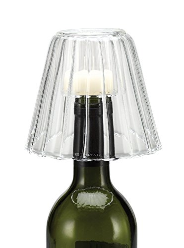 Creative Co-op Hand Blown Glass Wine Bottle Stopper/Tealight Holder, 4.5-Inch, Clear