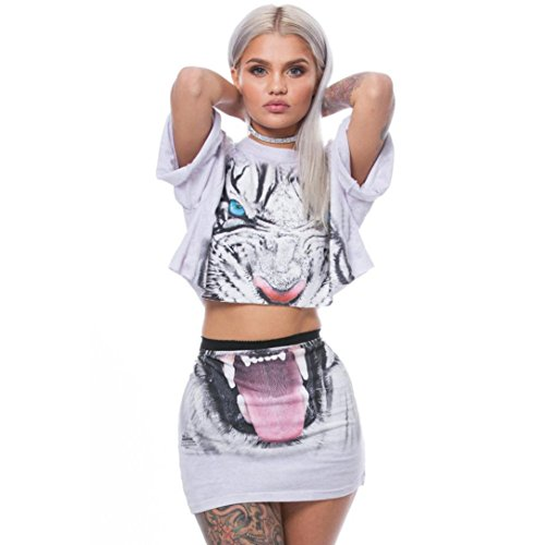 Hunzed Women Tiger Print Split 2 Piece Set Casual Skirt Casual Outfit Sportswear Blouse Tops T Shirt (L, White)