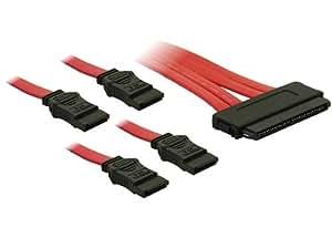 DeLock - Cable SAS (conector SATA de 32 pines a 4 conectores SATA de 7 pines, SFF 8484, 0,5 m)