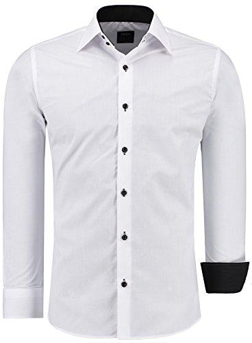 Jeel Langarm Herren Hemd Basic Business Anzug Freizeit Slim Fit , Weiß M