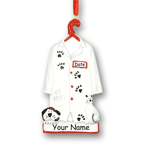(Personalized Veterinarian Pet Doctor or Vet Tech White Lab Uniform Jacket with Dog and Cat Paw Prints Hanging Christmas Ornament with Custom Name and Date (Optional))
