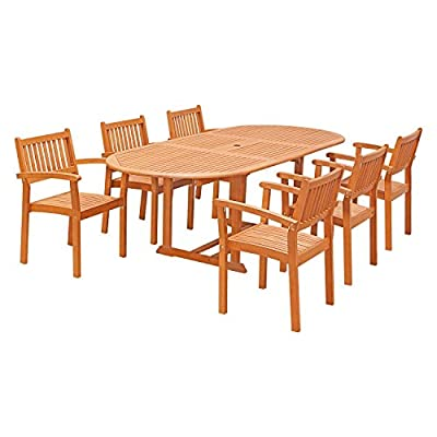 Vifah V144SET30 7 Piece Outdoor Wood Dining Set with Oval Extension Table and Stacking Chairs - Design features: slatted oval extension table with umbrella hole, stacking chairs, slatted seat Protects against mold, mildew, fungi, termites, rot, and decay Oil-Rubbed eucalyptus finish - patio-furniture, dining-sets-patio-funiture, patio - 41XGYX4cPVL. SS400  -