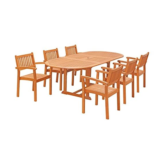 Vifah V144SET30 7 Piece Outdoor Wood Dining Set with Oval Extension Table and Stacking Chairs - Design features: slatted oval extension table with umbrella hole, stacking chairs, slatted seat Protects against mold, mildew, fungi, termites, rot, and decay Oil-Rubbed eucalyptus finish - patio-furniture, dining-sets-patio-funiture, patio - 41XGYX4cPVL. SS570  -