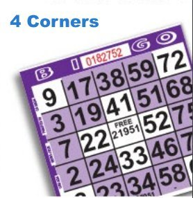 1 on Purple Four Corners/Small Cross Pattern Bingo Game Cards- Pack of 500