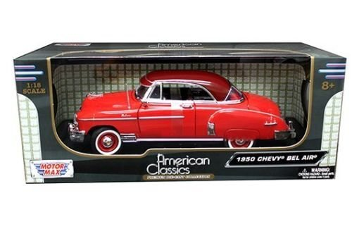 New 1:18 W/B AMERICAN CLASSICS - RED 1950 CHEVROLET BEL AIR CONVERTIBLE Diecast Model Car By MOTOR MAX ()