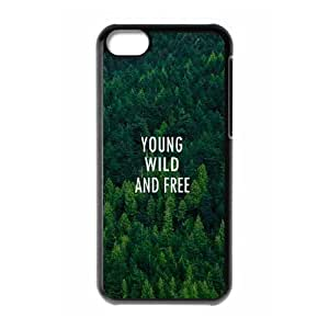 wugdiy Customized Cell Phone Case Cover for iPhone 5C with DIY Design Young, wild & free