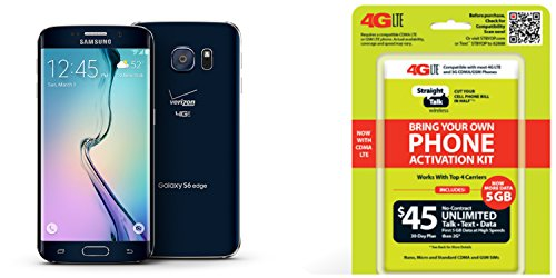 """Straight Talk Samsung Galaxy S6 Edge """"Black Sapphire """" 32GB runs on Verizon's 4G XLTE Via Straight Talk's $45.00 5GB Unlimited talk & Text """"Service Card Not included"""" 1 Samsung Galaxy S6 Edge 32GB """"Black"""" runs on Straight Talk's $45 Unlimited plan via Verizon's fast 4G LTE Towers """"Service Card Not Included"""". Phone pre-registered and sim card installed on your behalf Easy to follow instructions to get you activated in 1,2 3"""