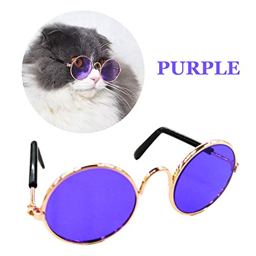 (DuZhome Dog Glasses- Funny Eye-wear cat Glasses Cool Sunglasses for Small Dogs Halloween Cosplay Photos Props pet Grooming Accessories)