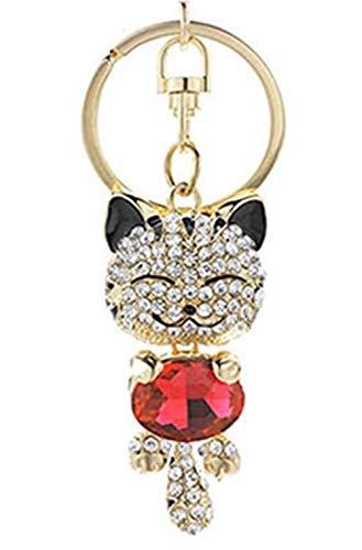 [해외]JewelBeauty 블링 블링 크리스탈 모조 다이아몬드 사랑스러운 동물 귀여운 행운 고양이 자동차 가방 펜던트 열쇠 고리 열쇠 고리 열쇠 고리 (블랙 레드) / JewelBeauty Bling Bling Crystal Rhinestone Lovely Animal Cute Fortune Cat Car Bag Pend...